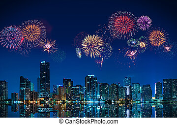 Fireworks in Miami - Big fireworks over the skyline of...