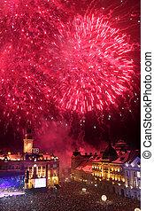Fireworks in Novi Sad, Serbia - Fireworks on new year 2008 ...