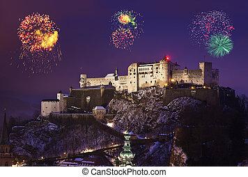 Fireworks in Salzburg Austria - holiday background