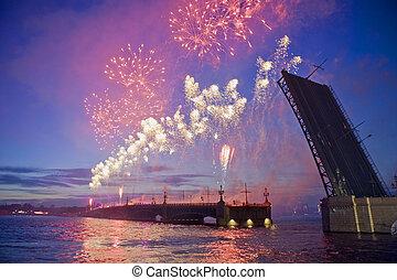 Fireworks in St.-Petersburg - Fireworks in Sankt Petersburg,...