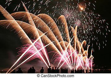 Fireworks in the amusement park with people in front