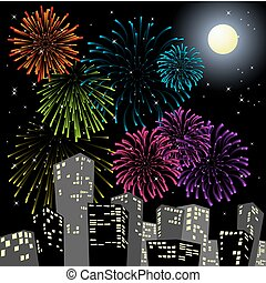 Fireworks in the centre of the city - New Year card
