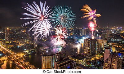Fireworks in the city at night