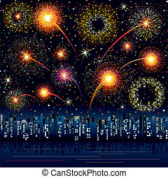 Festive Fireworks over a city, all elements grouped
