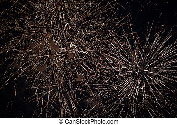 Fireworks in the night sky, many small fiery lights.