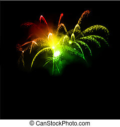 Fireworks in the night sky. Vector illustration