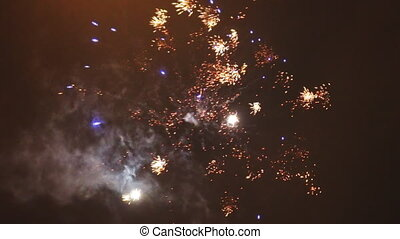 Fireworks in the sky. New year celebration.