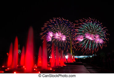 Fireworks in Victory park in honor of the 70 anniversary of ...