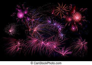 Fireworks in violet colors