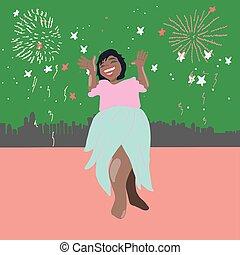 fireworks., kobieta, szczęśliwy, gwiazda, uśmiechanie się, oświetlenie