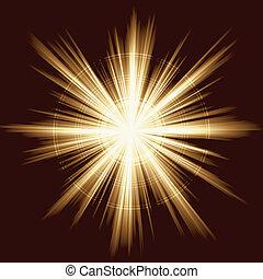 fireworks, lätt, signalljus, lins, brista
