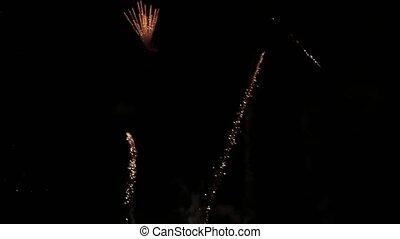 Fireworks light up the sky, New Year celebration. Fireworks ...