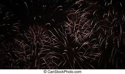 Fireworks makes the sky gold - Fireworks fill the sky with...