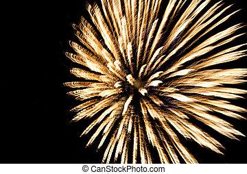 fireworks, med, skum fond