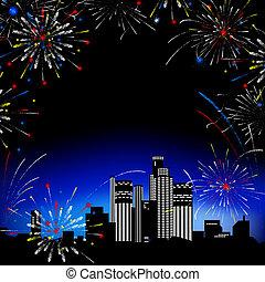 fireworks., multi-storey, bâtiments.