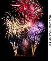 fireworks, nero, mostra, colorito