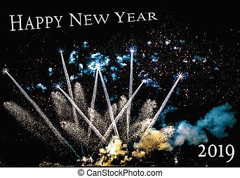 Fireworks, new year 2019