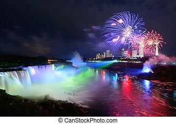 fireworks, niagara vattenfallen