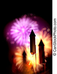 Close up image of firework rockets with lit fuses and a large display in the background. Bonfire night background - 3D illustration.