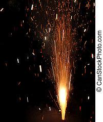 fireworks, nuovo, durante, anno, festa, celebrare