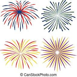 Fireworks of different kinds on white background, vector illustration