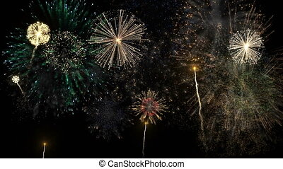 Fireworks of various colors over night sky