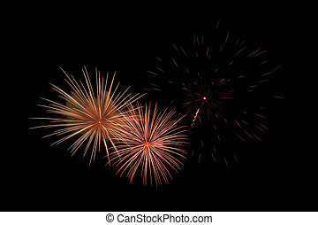 Fireworks on a black background With space