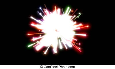Fireworks on black Happy Holidays different animation