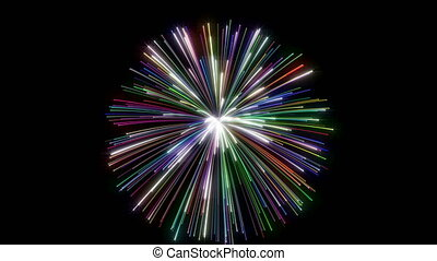 Fireworks on black Happy Holidays different animation -...