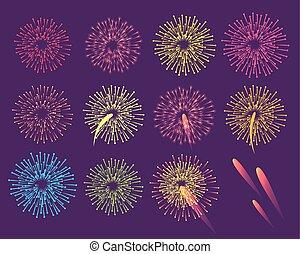 Fireworks on Blue Background. Burst of Salute