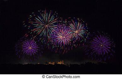 Fireworks on Carcassonne festival of 14 july 2012