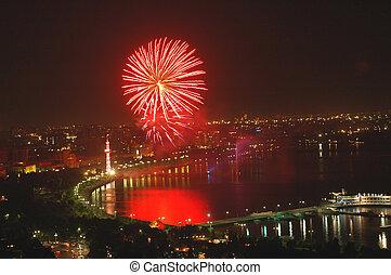 Fireworks on Independence Day in Baku, Azerbaijan