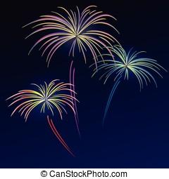 fireworks on night blue background