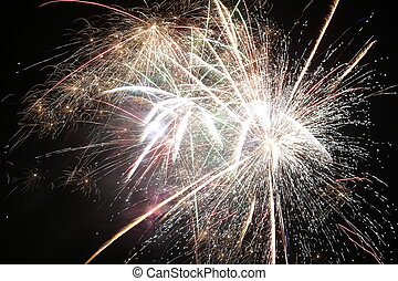 Fireworks on pure black background (can easily be set on a ...