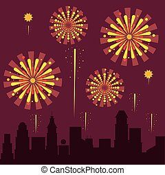 Fireworks on the city