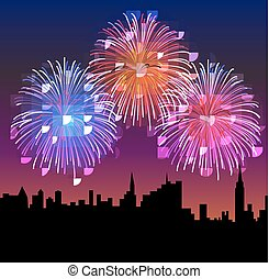Fireworks on the Night City