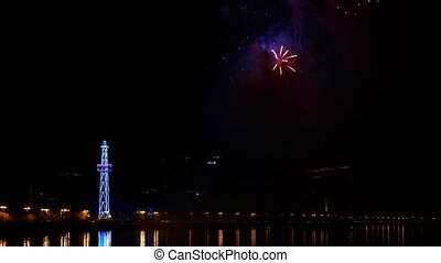 Fireworks on the night sky, Baku, Azerbaijan - Fireworks on...