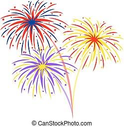 Fireworks on white background, vector illustration