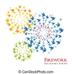 fireworks origami shaped from flying birds