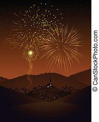 Fireworks over a village - Fireworks display over a secluded...