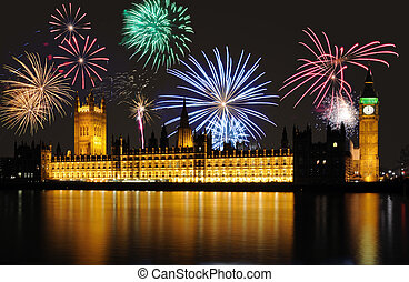 Fireworks over Big Ben / Parliament at midnight - Fireworks...