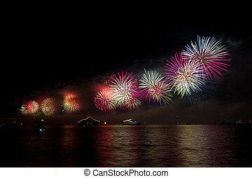 Fireworks over Bosphorus Strait, Istanbul