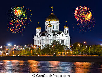 Fireworks over cathedral of Christ the Savior in Moscow...