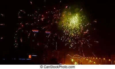 Fireworks over city building