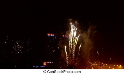 Fireworks over city building