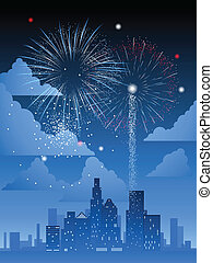 Fireworks over city - Fireworks display over a major...