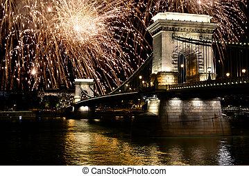Fireworks over Danube river, Budapest, Hungary - Fireworks...