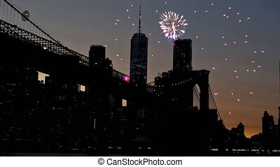 Fireworks over downtown manhattan New York City of fireworks and starry sky city blurred lights