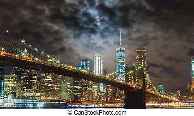 Fireworks over downtown manhattan New York City of fireworks...