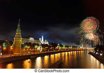 Fireworks over Moscow Kremlin